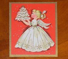 Vintage Christmas Card Girl Angel Gitter White Tree Dress Wings 50's Greeting