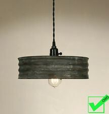 Vintage Rustic Primitive Industrial SIFTER PENDANT LIGHT Lamp Weathered Gray