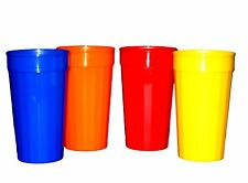 8  Large 32 Ounce Fluted Tumblers 2 ea Red Blue Orange Yellow Made America