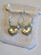 BEST Man & MAID d'onore VINO VETRO Charms WEDDING TAVOLO 99p ASTA