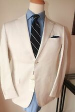 NWT CANALI LINEN BLEND MADE IN ITALY OFF WHITE SIDE VENT SUMMER SUIT WOW 38R