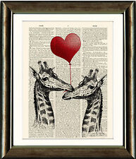 Antique Book page Art Print - Two Giraffes with LOVE Heart Balloon Wall Art