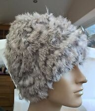 natural grey real genuine rabbit fur wool knitted hat head warmer unisex
