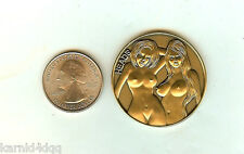 NUDE 2 Sexy Lady Women BRONZE Erotic Risque HEADS TAILS FLIP Coin Token Medal 2