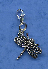 BEAUTIFUL DRAGONFLY DANGLE CHARM, TIBETAN SILVER PRETTY CLIP ON CHARM