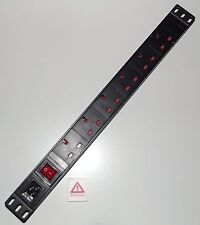 "6 Way Socket UK PDU con potenza C20 presa per * lead staccabile * 1U 19 ""Rackmount"