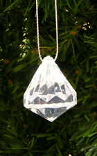 CLEAR ACRYLIC DIAMOND SHAPED FACETED CHRISTMAS TREE ORNAMENT