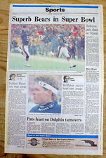 1986 hdl newspaper 1985 CHICAGO BEARS go to NFL SUPER BOWL Football Championship