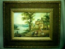 Fine ANTIQUE original HUNGARIAN - HUNGARY OIL PAINTING ( VILLAGE BY RIVER SCENE)