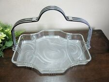 Vtg art deco frosted glass 3 part divided serving dish.Pheasant bird