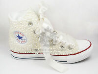 Women's Ladies Ivory Pearl Bridal Hand Customised High Top Converse Size 3-8