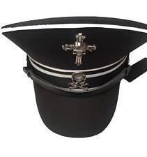 NERO Militare cappello di cotone con finitura bianca e metallo TESCHI 59 cm