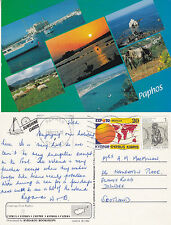 1992 MULTI VIEWS OF PAPHOS CYPRUS COLOUR POSTCARD