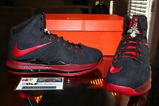 Deadstock Nike Lebron 10 X Black Denim Red PE Player Exclusive Sample Size 10.5