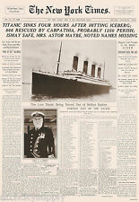 POSTER: NEWSPAPER HEADLINE: TITANIC DISASTER - FREE SHIPPING  #3184  LP52 U