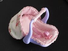 OOAK Mini doll decorated car seat carrier for 5 inch clay, or silicone baby doll