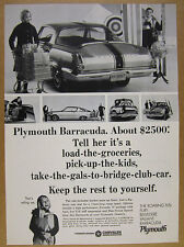 1965 Plymouth BARRACUDA rear & side view car photos vintage print Ad