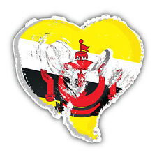 Brunei Grunge Heart Flag Car Bumper Sticker Decal 5'' x 5''