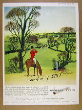 1951 Abdulla NUMBER 7 Cigarettes english countryside horse riding art vintage Ad