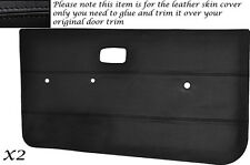 BLACK LEATHER 2X FRONT DOOR CARDS SKIN COVERS FITS VW GOLF MK1 JETTA CADDY MK1