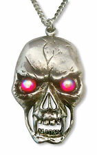 Gothic Large Skull with Red Aurora Borealis Stones Silver Finish Necklace NK-517