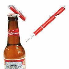 NEW Authentic HEAVY Steel BUDWEISER PEN w/ BOTTLE OPENER Black Ink Bud Light