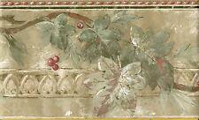 Golden Sage Leaf & Berry - Green Gold Burgundy - ONLY $6 - Wallpaper Border 1039