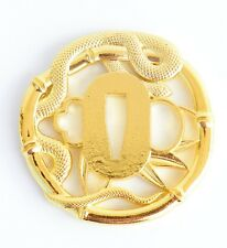 Alloy tsuba hand guard plate golden snake for Japanese swords katana wakizashi