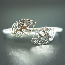 14k white Gold plated Swarovski elements leaf filigree crystals bangle bracelet