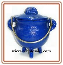 "3.5 "" Cast Iron BLUE Cauldron Incense Burner POT BELLY ~ FREE PRIORITY SHIPPING"