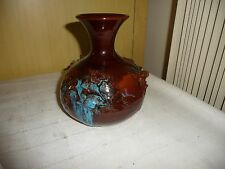 #1121 vtg clay Drip HIGH glaze Pottery vase Brown & Blue 6 1/2'' T x 8 3/4'' w