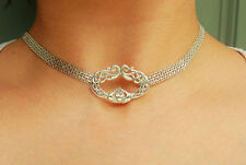925 Sterling Silver Chain Locking Celtic Claddagh BDSM Slave Bondage Day Collar