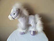 Horse Pony Animal Alley Purple Plush Stuffed Sparkle White Boa feathers 2009""