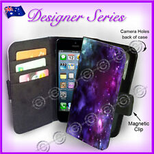 Designer Apple iPhone 5C Wallet Flip Card Case Art Collection Purple Galaxy 30