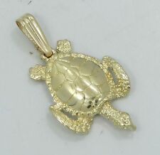 Nice 14K Yellow Gold Detailed Sea Turtle Necklace Pendant B1894