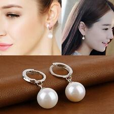 New Fashion Womens Silver Plated Ear Huggie Hoop Dangle Drop Earrings Jewellery