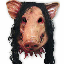 Pig Head Mask With Hair Halloween Party Hair Saw Creepy Scary Latex Masks