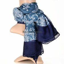Bohemia Vintage Blue Flower Print Floral Cotton Cape Scarf Wrap Shawl Women's