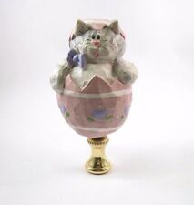 Lamp Finial;  Cat Popping out of an Easter Egg, Hand Painted, Resin (C2)