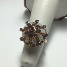 Vintage 14K Yellow Gold Ruby and Opal Princess Ring Size 5.5