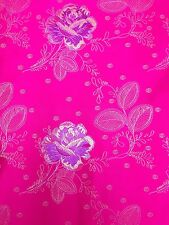 Brocade Chinese floral oriental asian Hot Pink Fabric