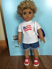"American girl custom Boy/brother 18""doll curly blonde hair brown eyes Mark NEW"