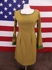 Tunic Dress W/Shaw Unique Vintage Silk Like Gold/Green/Black See Notes For Size