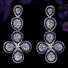 Rhodium Plated Blue Crystal Flower Chandelier Drop Dangle Earrings 08414 New