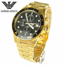 EMPORIO ARMANI AR5857 BLACK DIAL GOLD MENS CHRONO WRIST WATCH-100% NEW + BOX