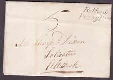 """1839  """" Belford / Penny Post"""" to Alnwick 5d rate entire"""
