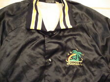 Vintage Hawaii Black & Yellow punk rock surfboard Satin Jacket Mens size M