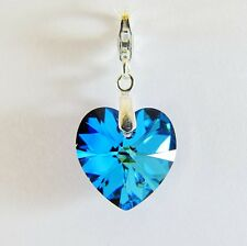925 Sterling Silver Bracelet Charm Swarovski Elements Crystal Heart Bermuda Blue