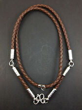 Rare Necklace Rope Leather Brown Buddha Buddhist Amulet thai for Pendant 3 Hook