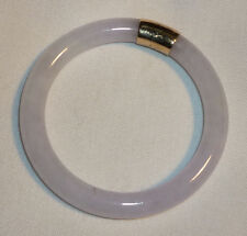 ANTIQUE CHINESE WHITE JADE BANGLE BRACELET LAVENDAR PURPLE HUE 14K ENGRAVED GOLD